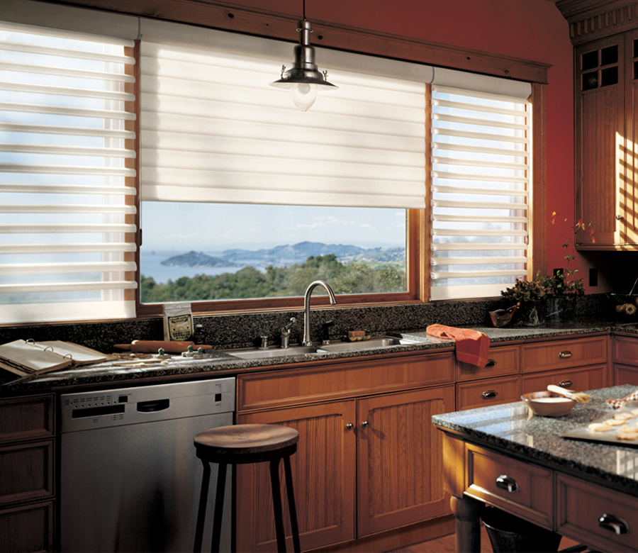 white window shades in kitchen overlooking the mountains Tahoe