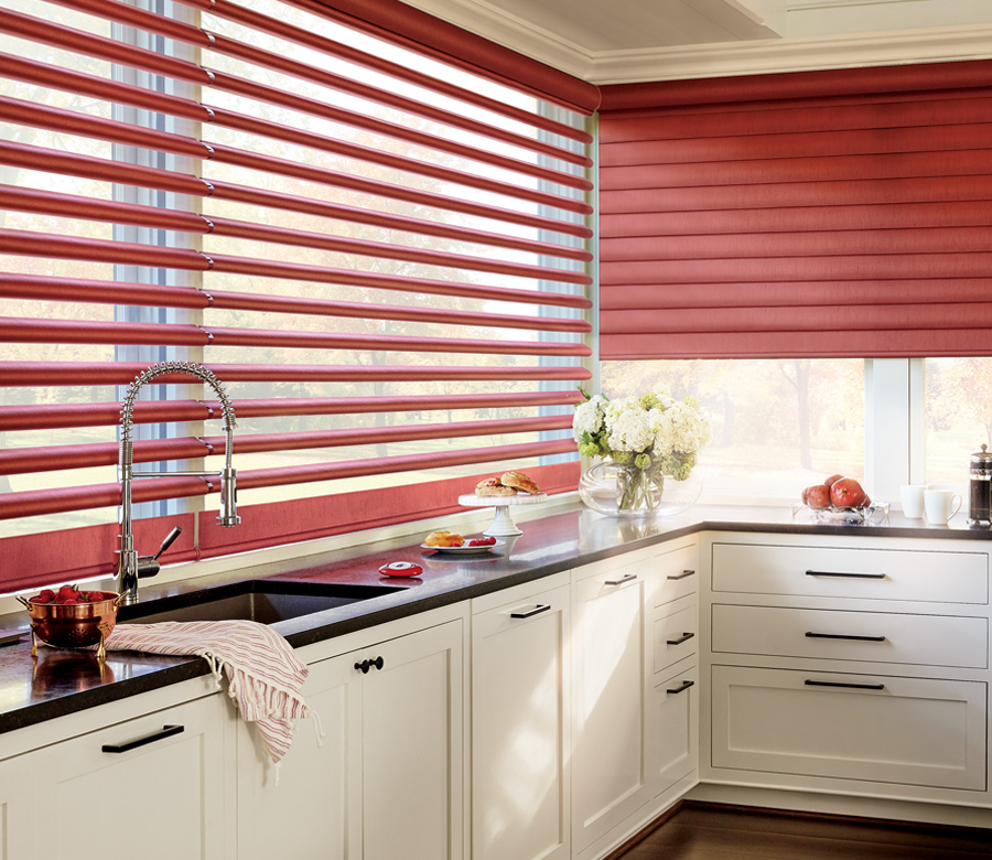 red motorized shades in kitchen Reno NV