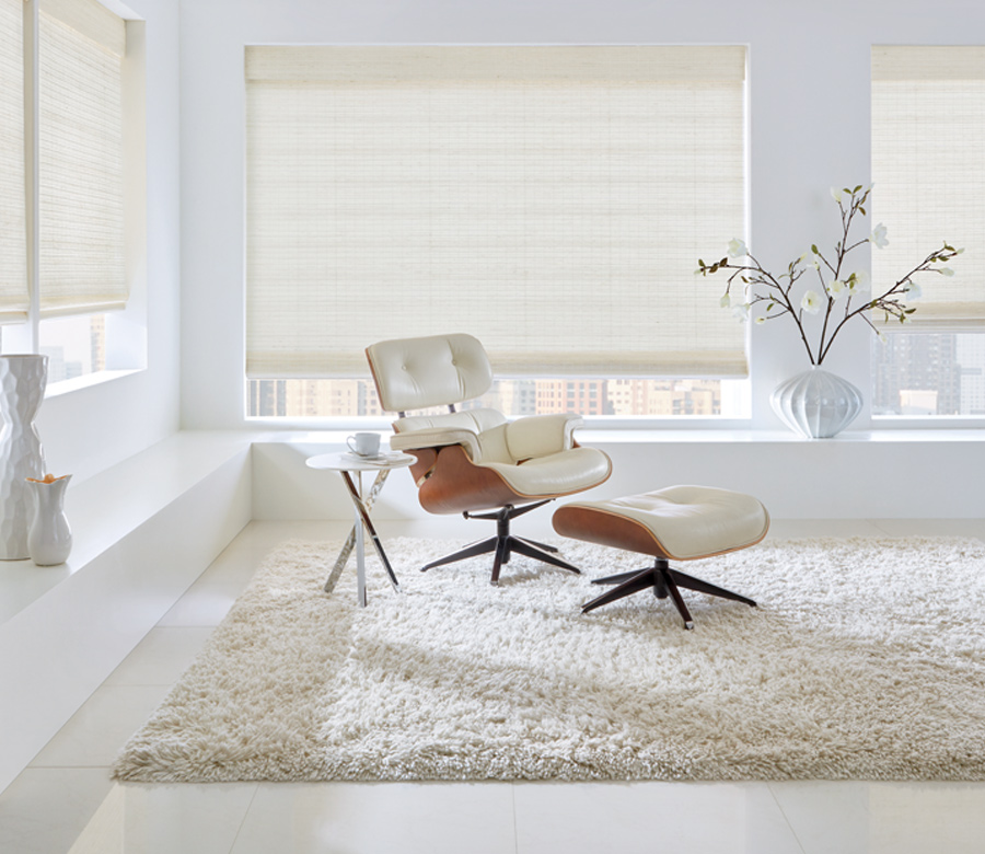 white woven wood shades with white interiors Reno NV