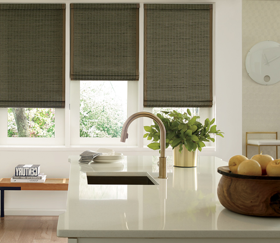 olive colored woven woods in modern kitchen Incline Village NV