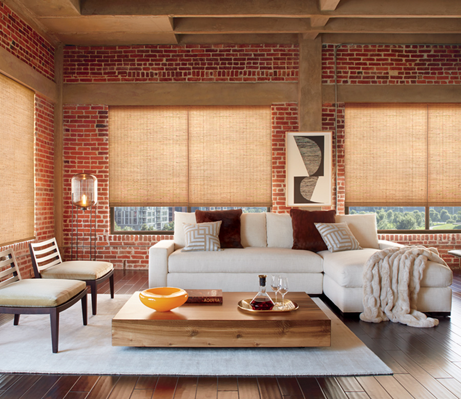 woven wood shades with exposed brick modern loft Tahoe