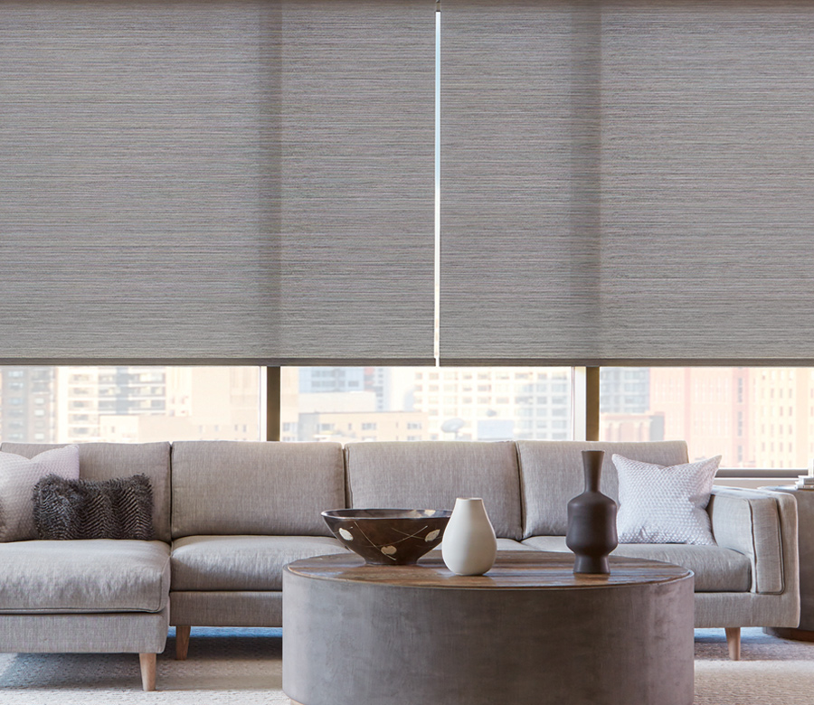 gray textured roller shades in modern living room Reno NV
