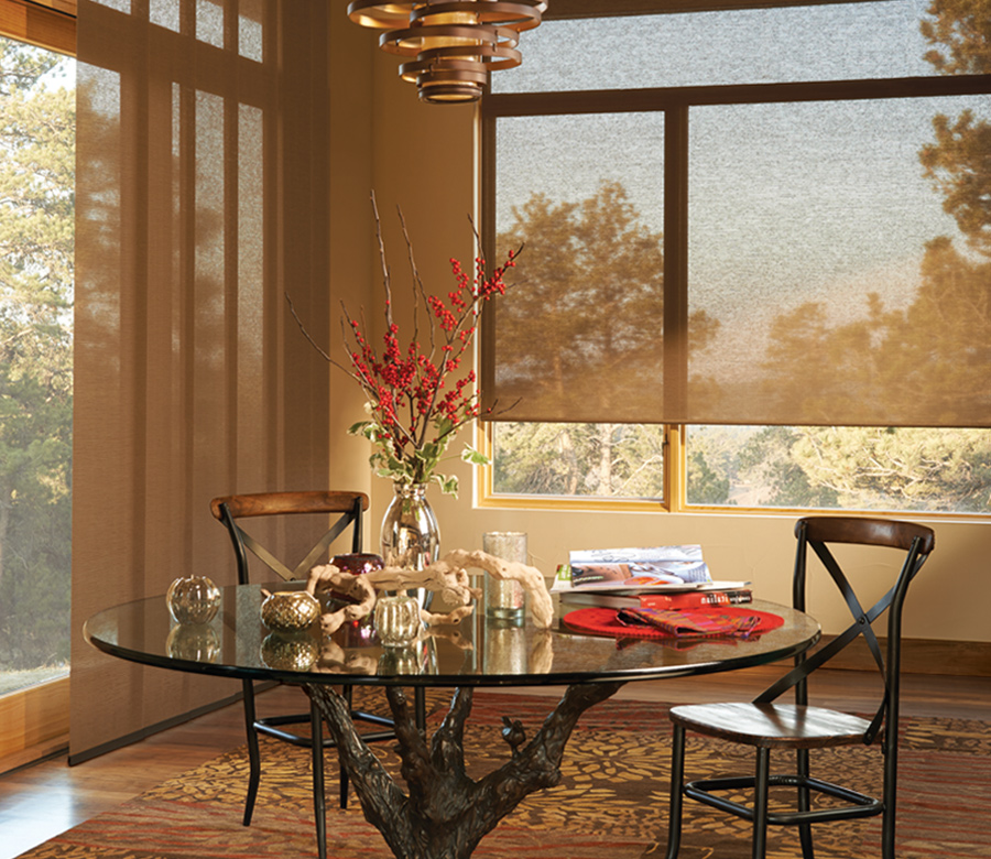 brown screen shades with matching vertical shades on sliding glass doors Incline Village NV