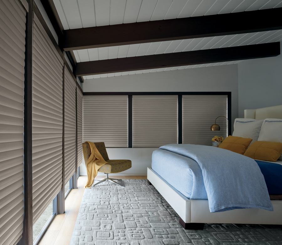 bedroom with cellular roller shades Incline Village NV