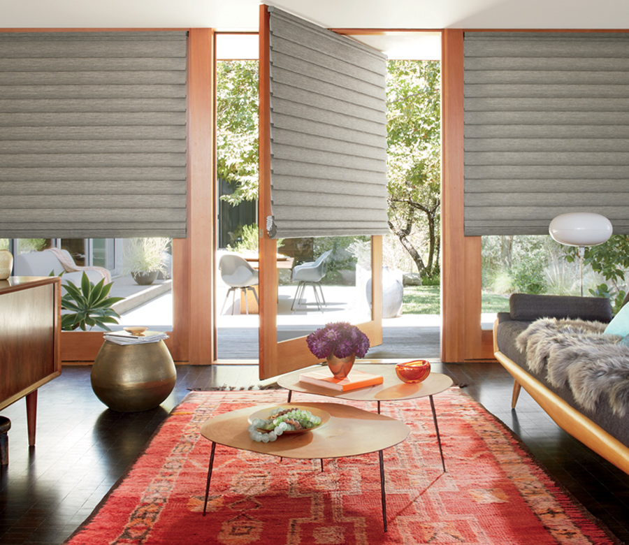 modern living room with hunter douglas vignette modern roman shade Reno