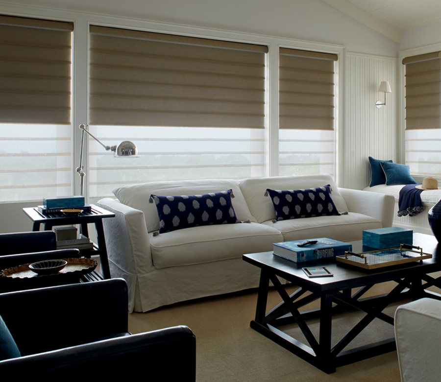 traditional living room with hunter douglas roman shades Reno