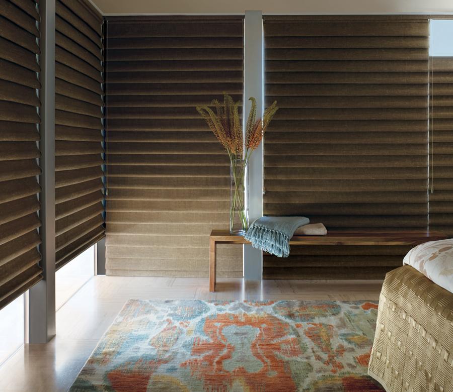 boho bedroom with hunter douglas roman shades Reno