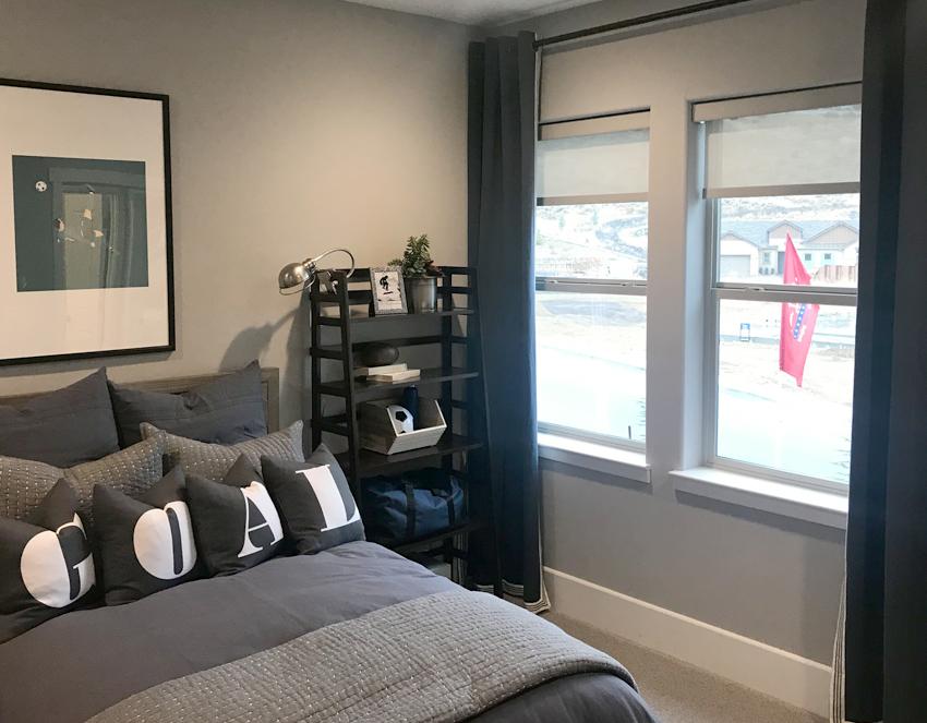 teen boys room with designer screen roller shades Reno NV