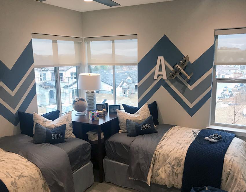 boys bedroom with neutral color screen shades Reno NV