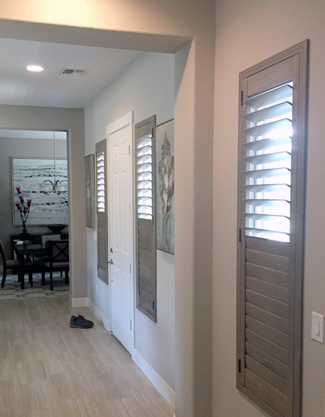 hallway hunter douglas wood plantation shutters Reno