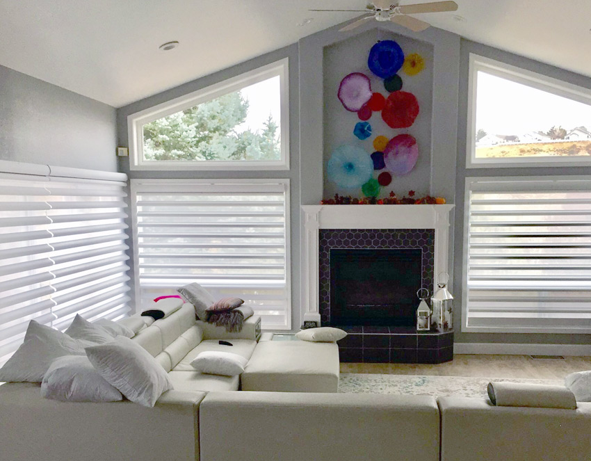 large floor to ceiling window pirouette window shades hunter douglas reno