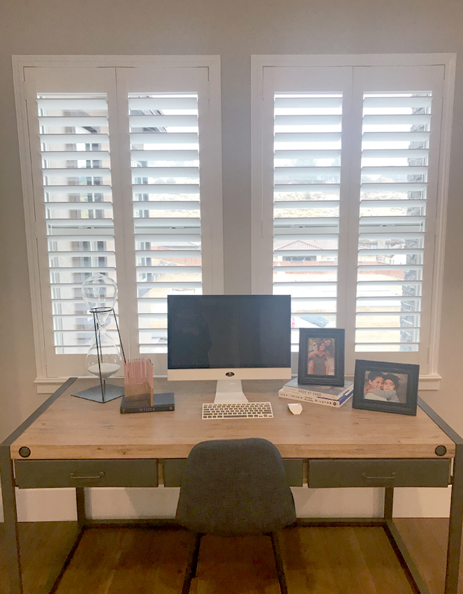 home office with white plantation shutters in Reno NV home