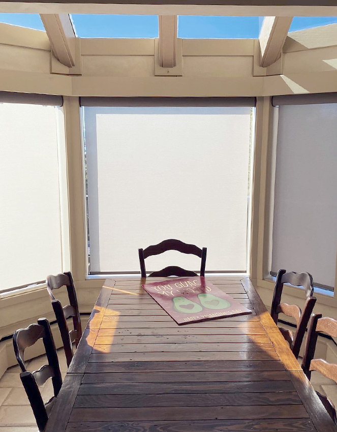 breakfast nook with skylights and modern roller shades Incline Village NV