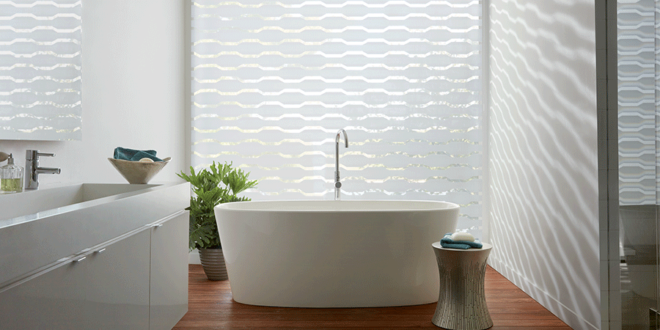 white bathroom with geometric patterned shades on feature wall Reno NV