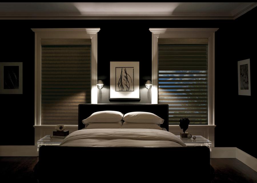 Room darkening shades in bedroom in Reno home.