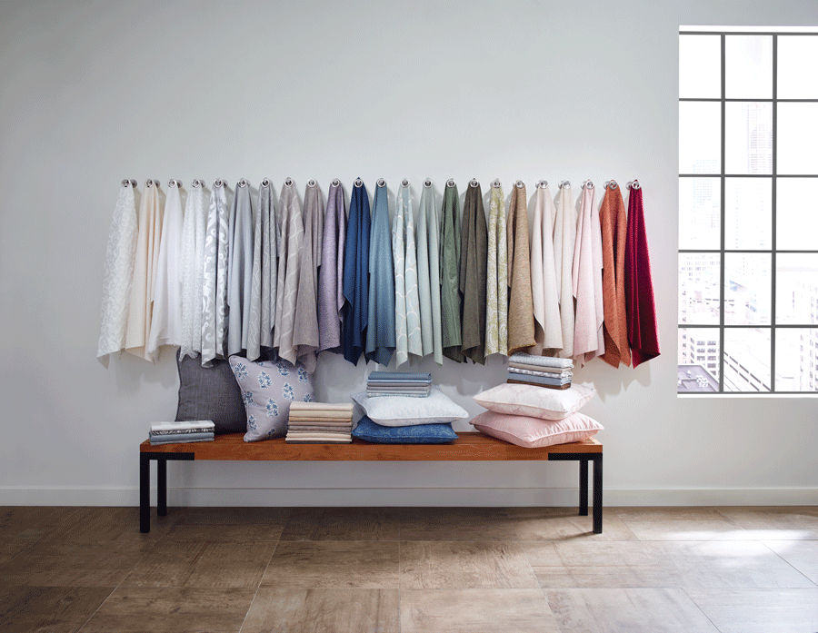 Picking a fabric that matches the atmosphere of the room is important.