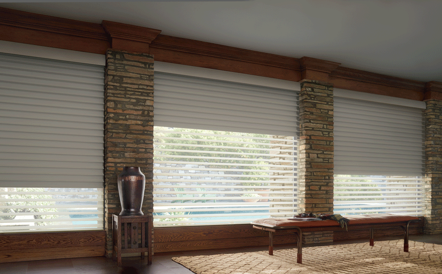 living room dual shade silhouette shades for large windows Reno NV