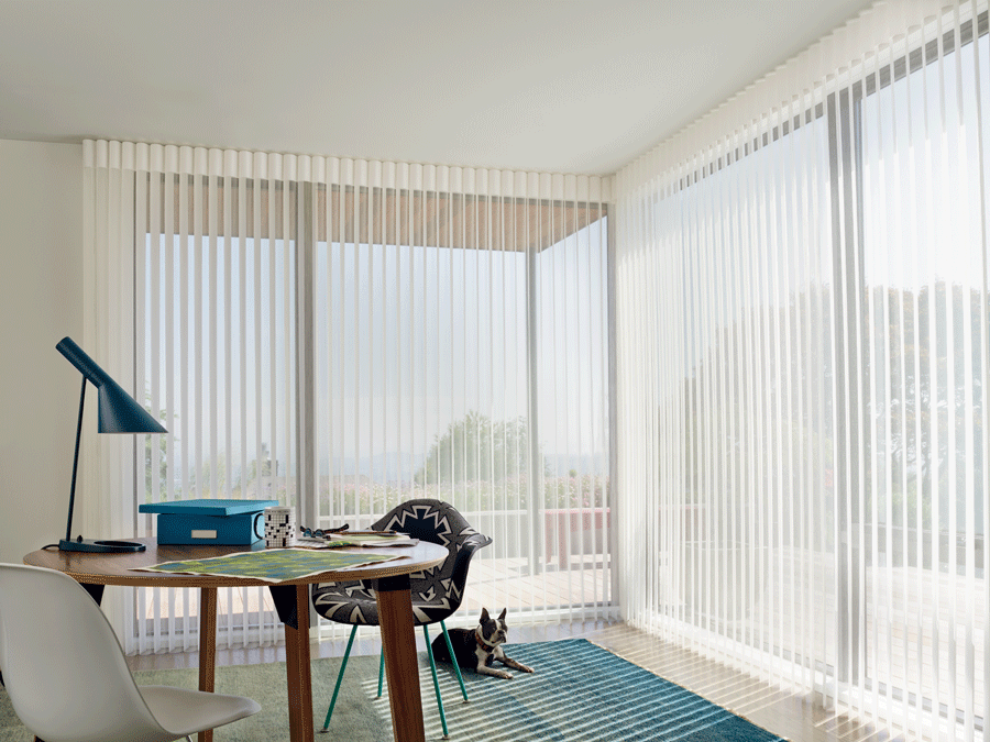 Luminette view through sheer vertical shades are perfect for rooms that don't get direct sunlight.