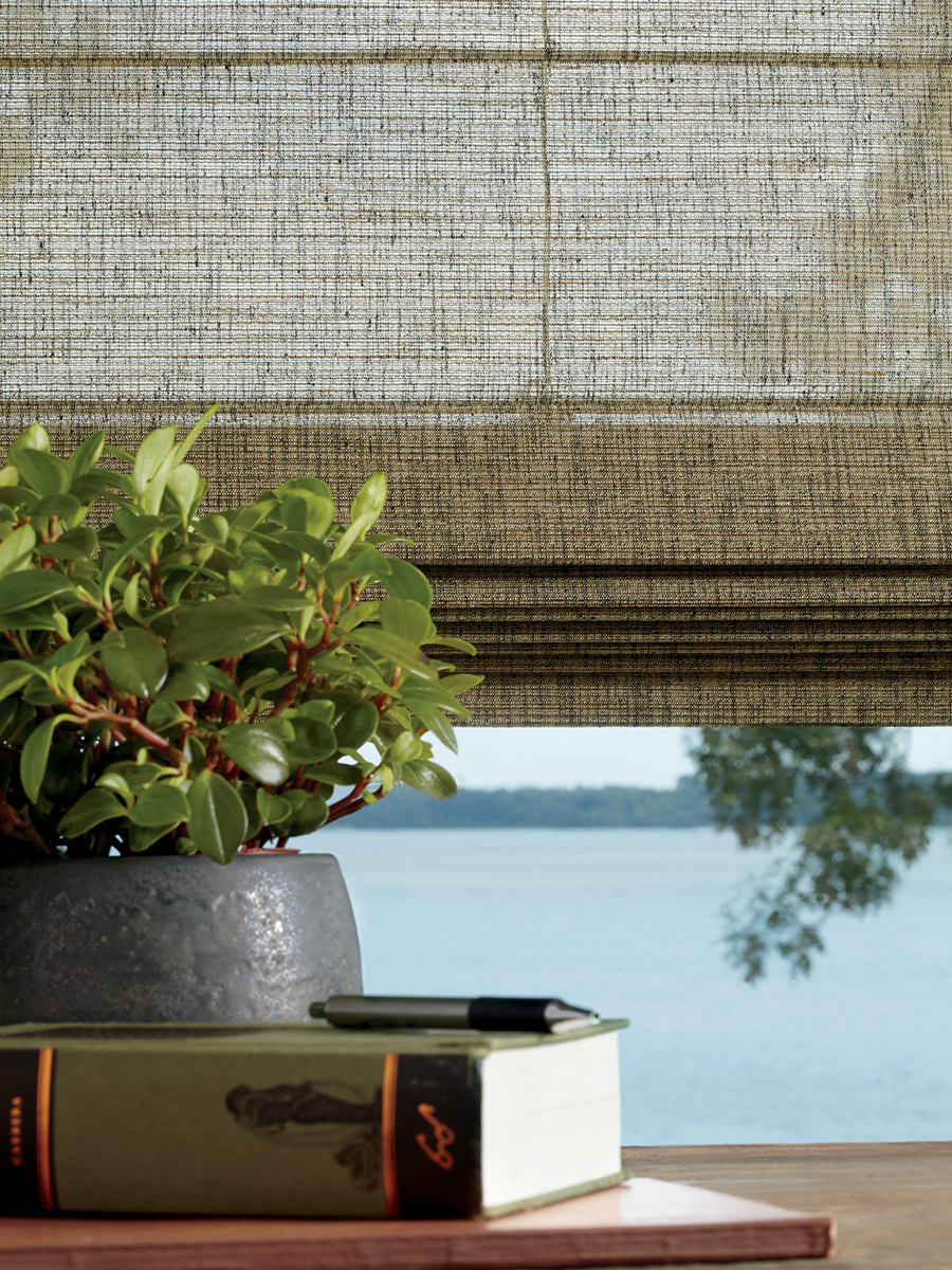 close up of window alustra woven texture shades