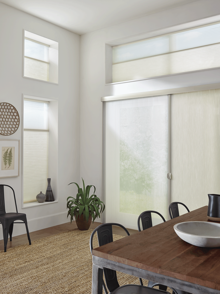 Cellular Shades on sliding doors and side window.
