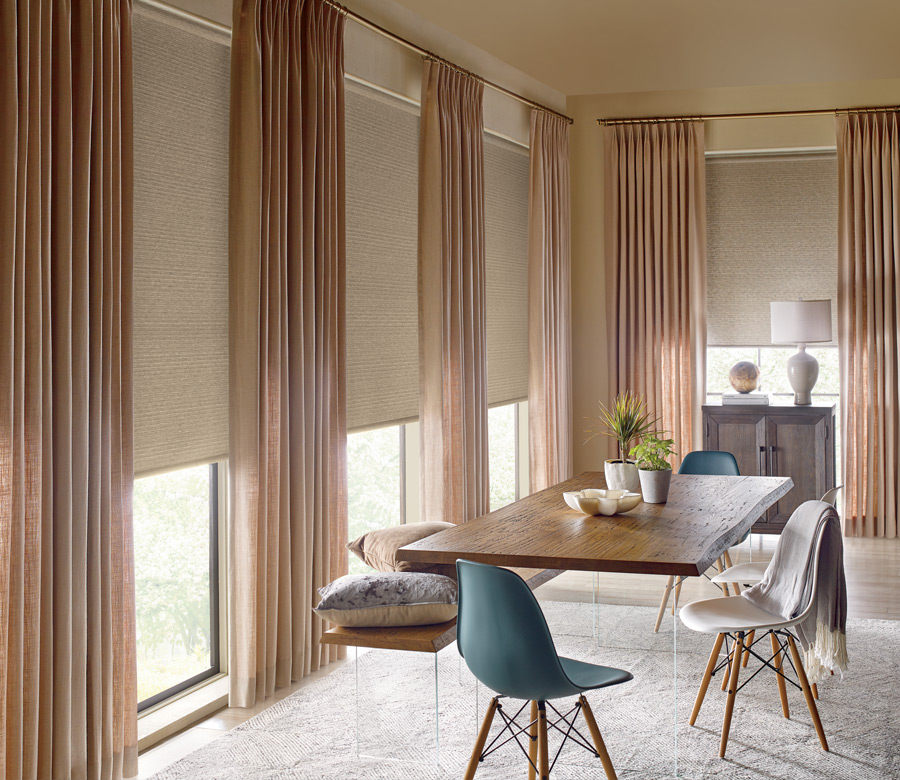 custom drapery panels with neutral roller shades Incline Village, NV