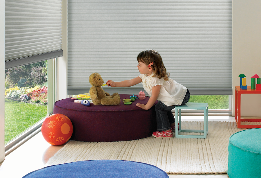 Playroom featuring Duette Cellular Shades by Hunter Douglas.