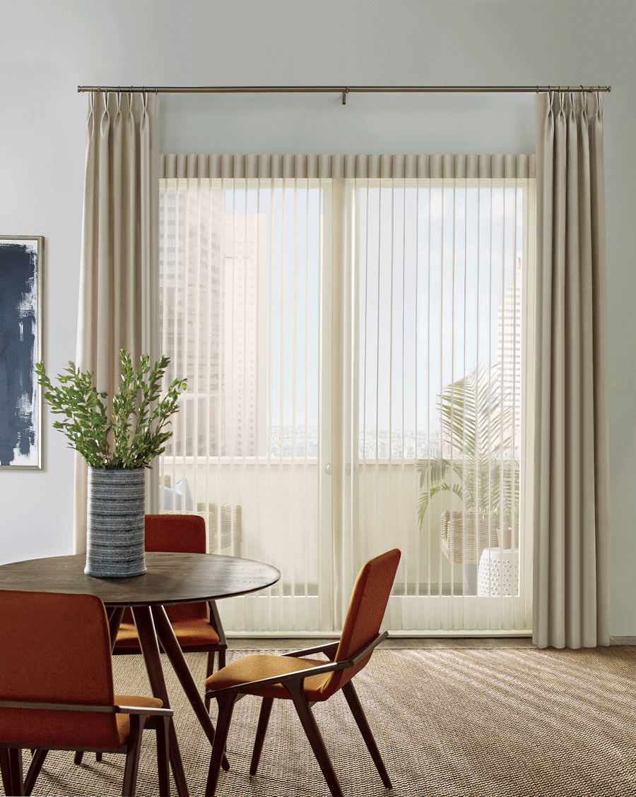Luminette Privacy Sheers and side drapery panels on sliding door.