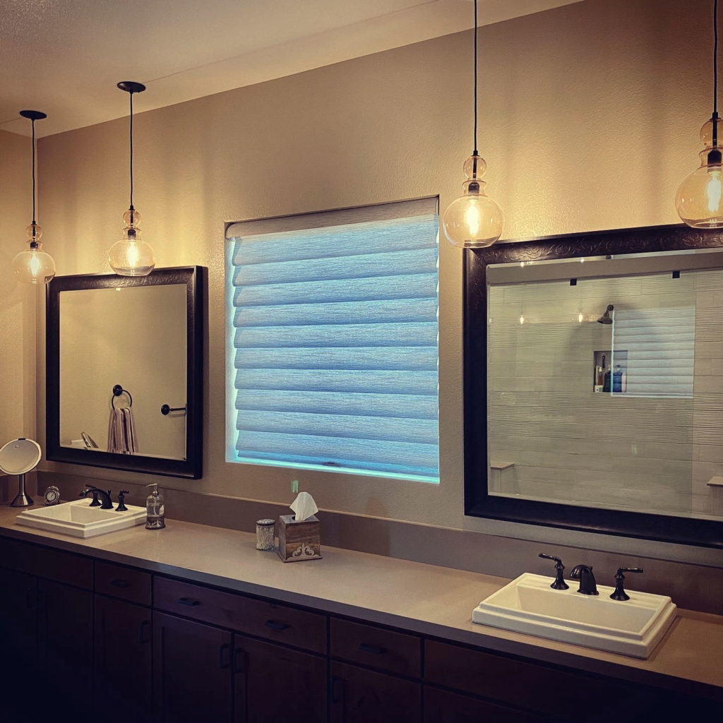 modern bathroom vignette roman shades reno NV