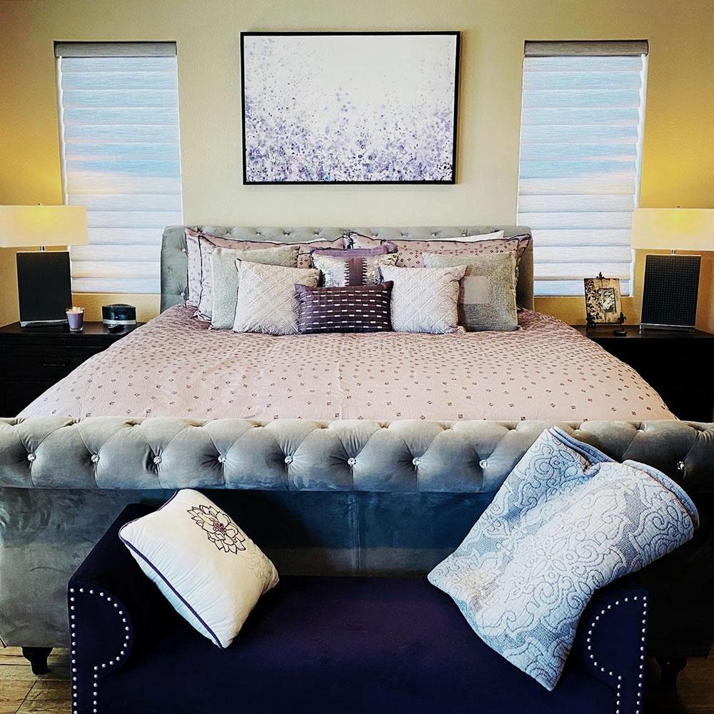 modern bedroom blue vignette roman shades reno NV
