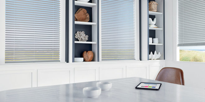 Automated shades that are controlled by an app.
