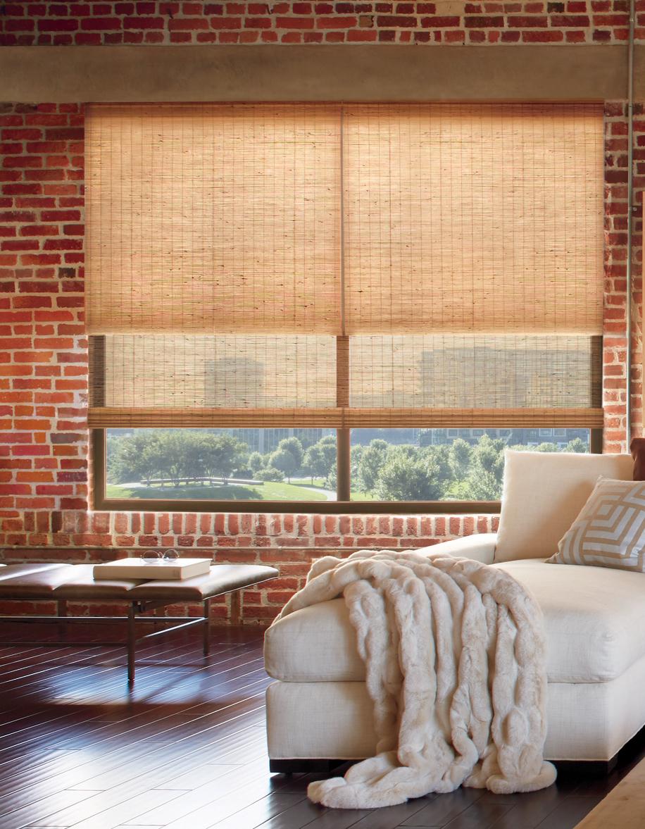 bedroom brick contemporary urban style dual woven shades reno