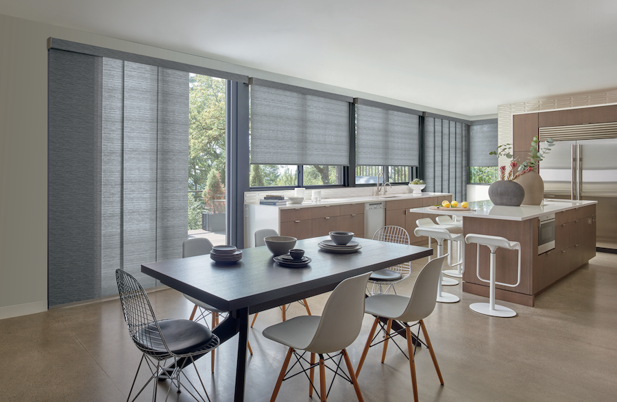covering windows with gliding window panels in Reno home