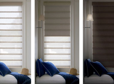 three positions of dual shades with roman shades Truckee