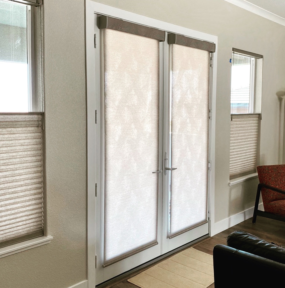 french doors with modern roller shades in Reno NV