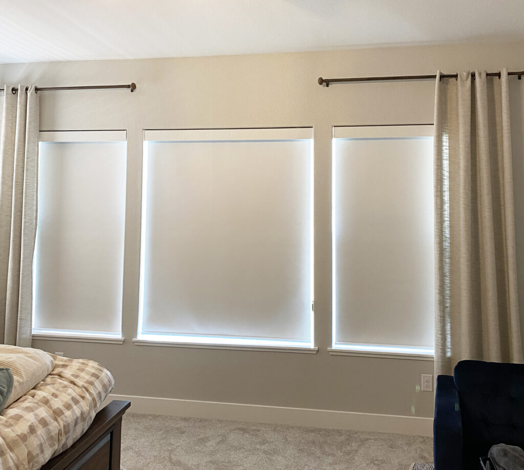 closed roller shades in living room in Reno NV