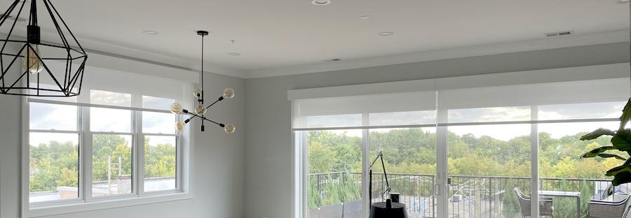 Reno, NV, automated shades on wall to wall windows.