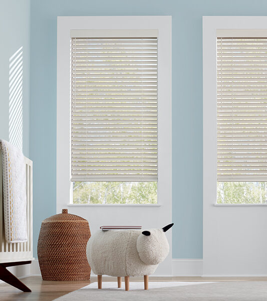 cordless blinds in blue nursery in Reno NV