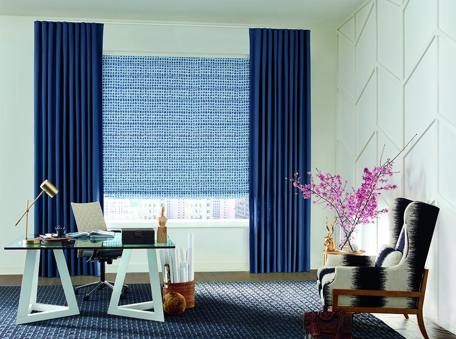 color trends blue draperies