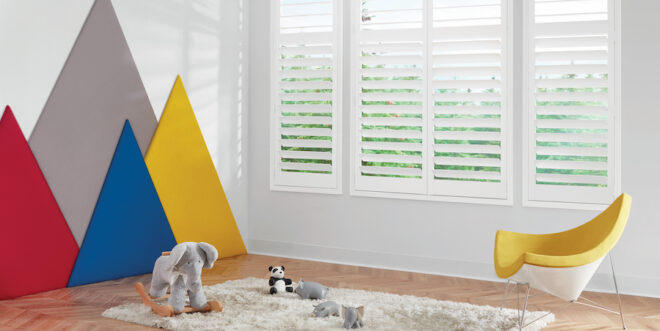 child safe window treatments are white plantation shutters in playroom in Reno NV