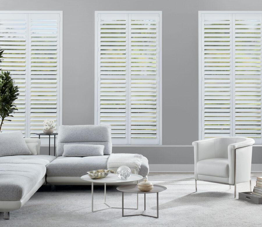 Newstyle hybrid shutters modern style living room reno NV