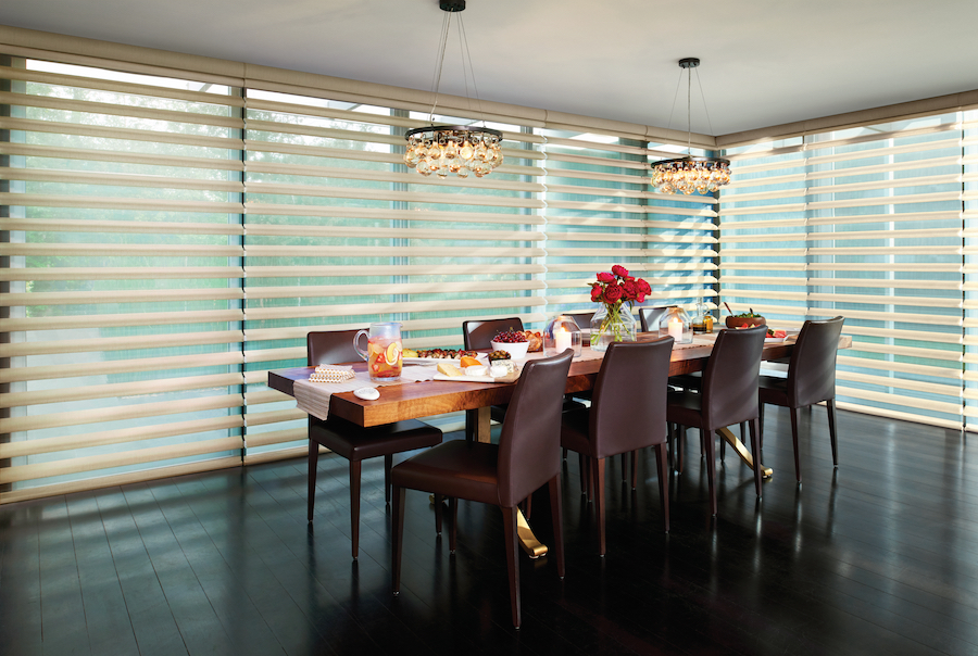 pirouette shades floor to ceiling dining room window treatments reno NV