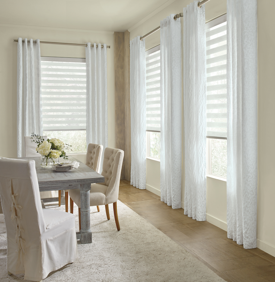 drapery layering neutral colors dining room reno