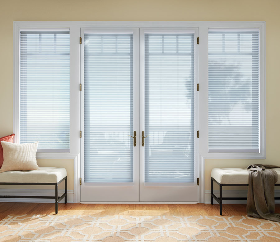 french door window treatments are view through cellular shades in Reno NV