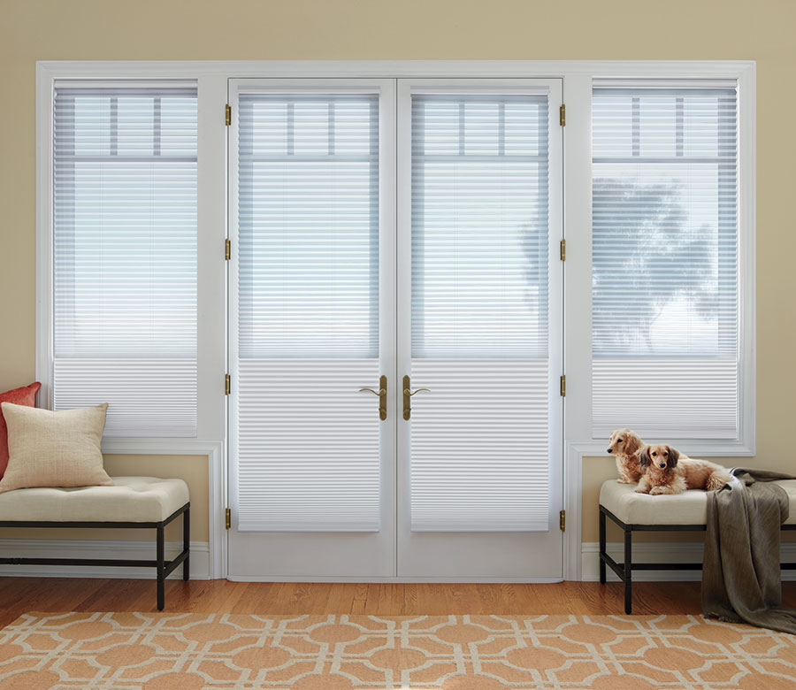 french door with dual cellular shades in Reno NV