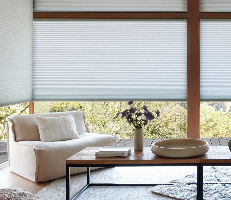 large windows in Reno NV home with honeycomb shades