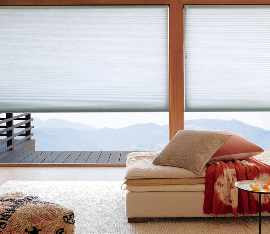 duette honeycomb shades on large windows in Incline Village NV