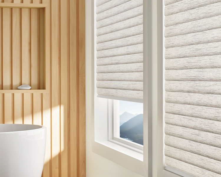sonnette cellular roller shades create insulating barrier in Reno NV bathroom