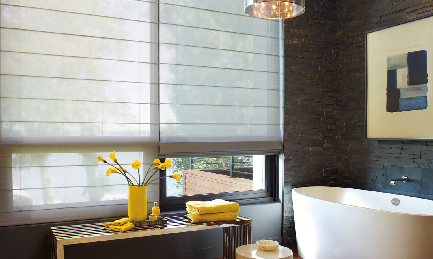 bathroom floor to ceiling window coverings for color of the year 2021 trend in Reno NV