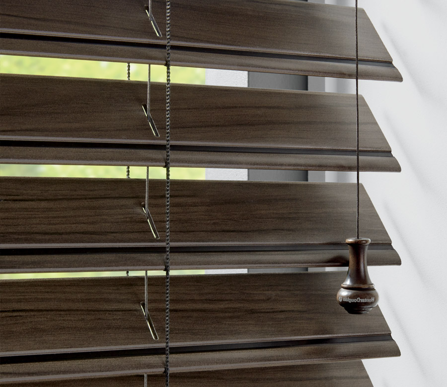close up stained look for dark faux wood blinds in Reno NV