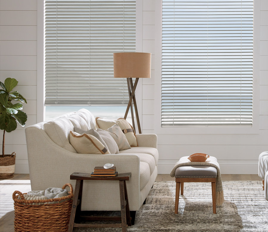 contemporary casual living room with alternative wood blinds in Incline Village NV